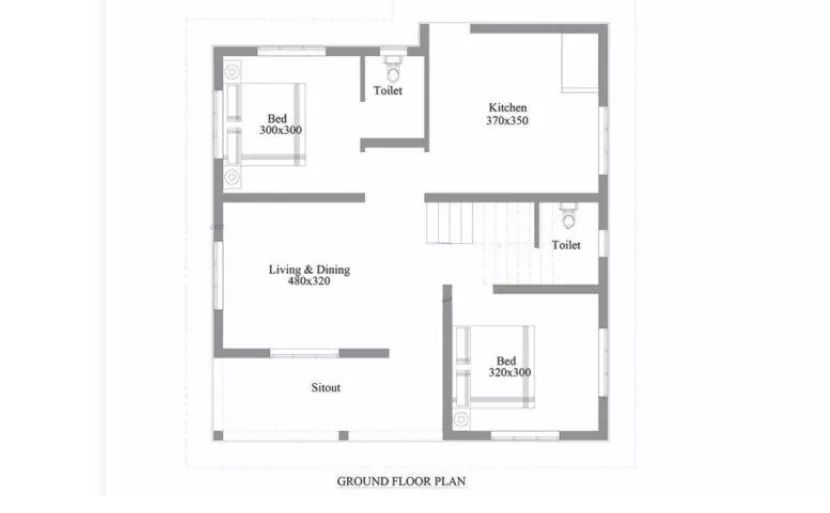 750 Sq Ft 2BHK Modern Single Floor House and Free Plan, 10 Lacks