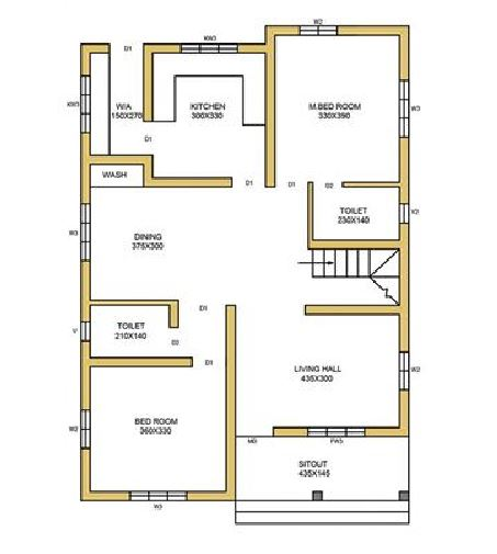 950 Sq Ft 2BHK Contemporary Style Single-Storey House and Free Plan