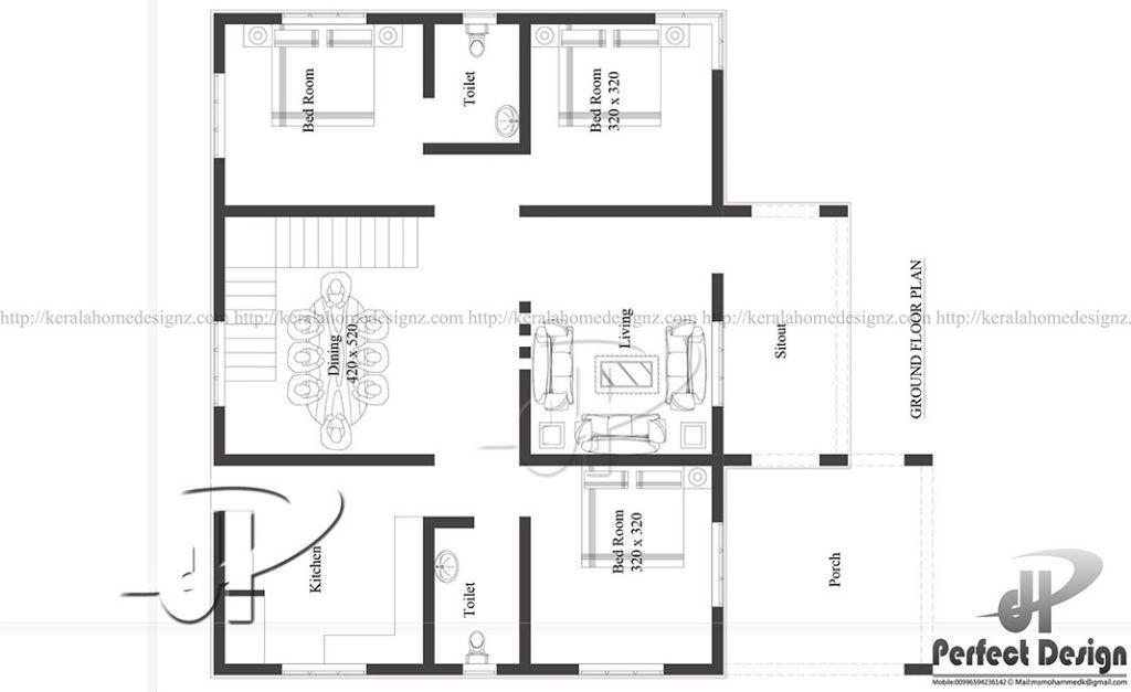 1000 Sq Ft 3BHK Single Floor Simple Modern House and Free Plan, 16 Lacks