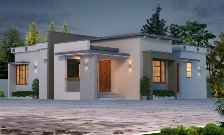 1145 Sq Ft 3BHK Contemporary Style Home and Free Plan, 14 Lacks