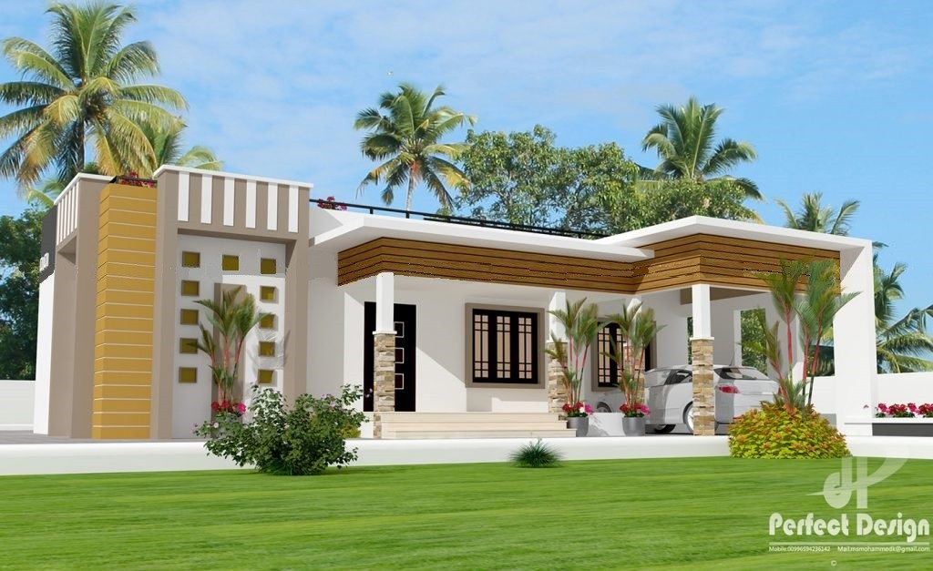 1237 Sq Ft 3BHK Contemporary Style Single-Storey House and Free Plan