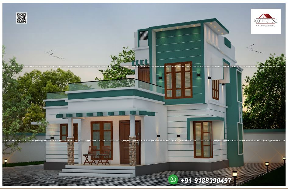 1260 Sq Ft 3BHK Modern Two-Storey Home and Free Plan