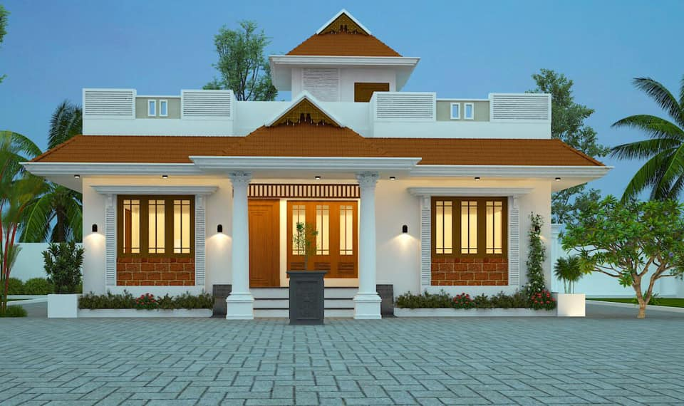 1393 Sq Ft 3BHK Traditional Style Single-Storey House and Free Plan