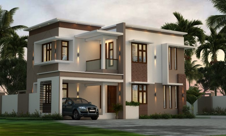 1410 Sq Ft 3BHK Contemporary Style Home and Free Plan, 21.85 Lacks
