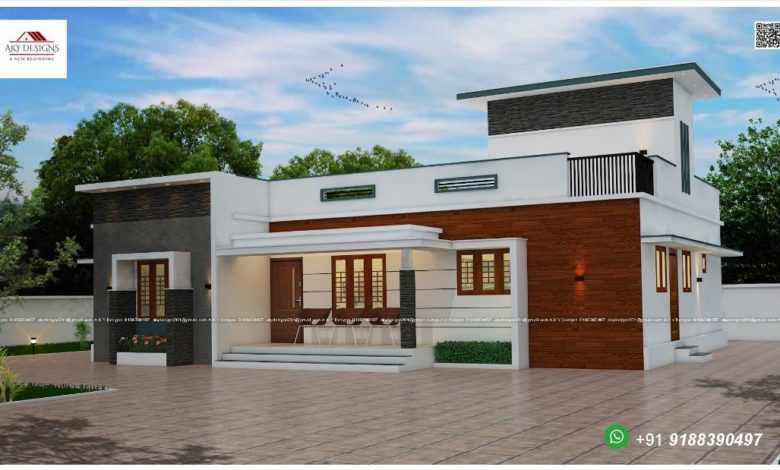 1421 Sq Ft 3BHK Contemporary Style Single Floor Home and Free Plan