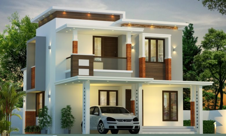 1485 Sq Ft 3BHK Contemporary Style Two-Storey House and Free Plan, 23 Lacks
