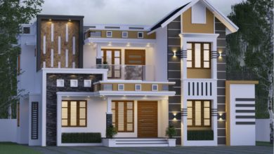 Photo of 1800 Sq Ft 4BHK Contemporary Style Mixed Roof Home and Free Plan
