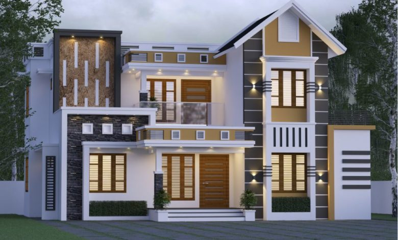 1800 Sq Ft 4BHK Contemporary Style Mixed Roof Home and Free Plan