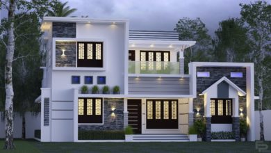 Photo of 1944 Sq Ft 3BHK Contemporary Style Two-Storey House and Free Plan