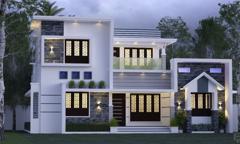 1944 Sq Ft 3BHK Contemporary Style Two-Storey House and Free Plan