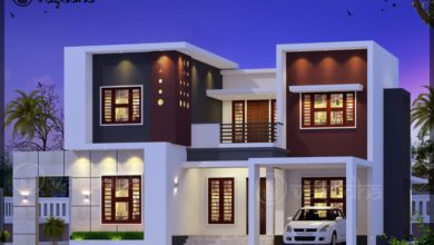 Photo of 1950 Sq Ft 3BHK Contemporary Style Two-Storey House and Free Plan