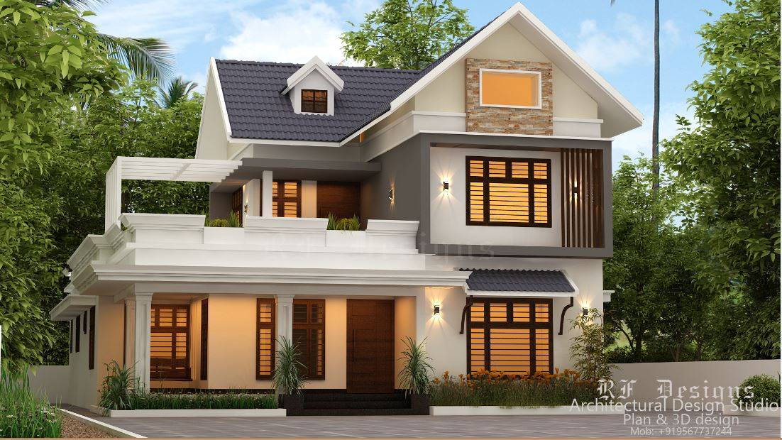 2267 Sq Ft 4BHK Colonial Style Two-Storey House and Free Plan