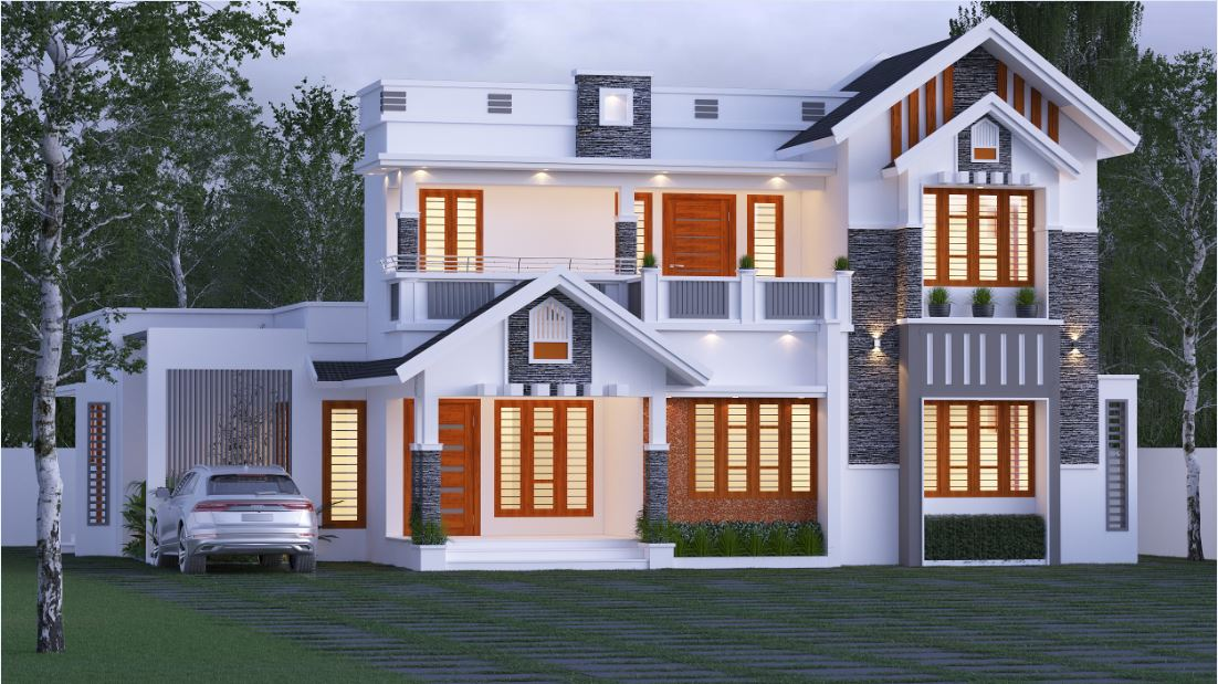 2487 Sq Ft 4BHK Traditional Style Two-Storey Home and Free Plan