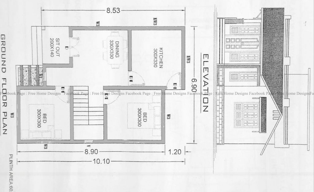 650 Sq Ft 2BHK Traditional Style Single Floor House and Free Plan, 10 Lacks