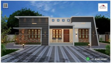 Photo of 1235 Sq Ft 3BHK Fusion Style Single Floor Home and Free Plan