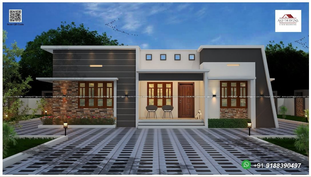 1235 Sq Ft 3BHK Fusion Style Single Floor Home and Free Plan