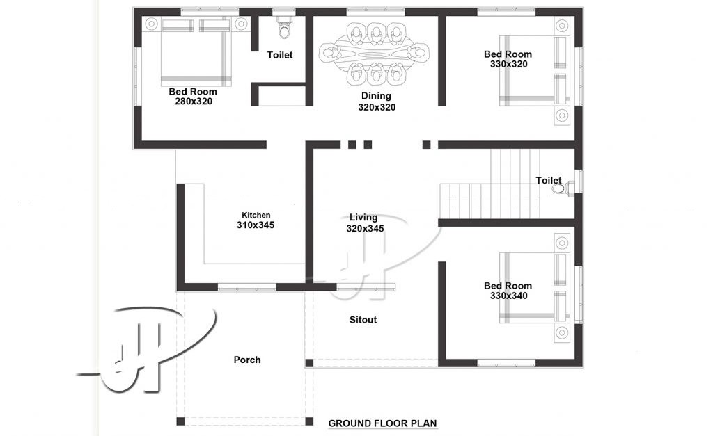1286 Sq Ft 3BHK Box Style Single Floor Home and Free Plan