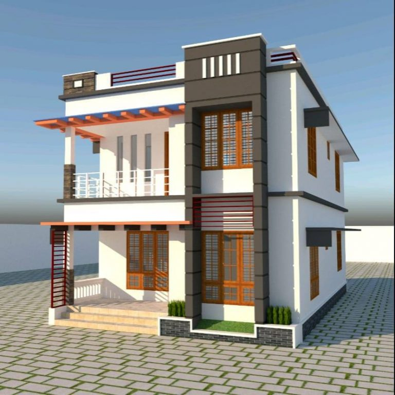 1610 Sq Ft 4BHK Contemporary Style Double Floor Home and Free Plan