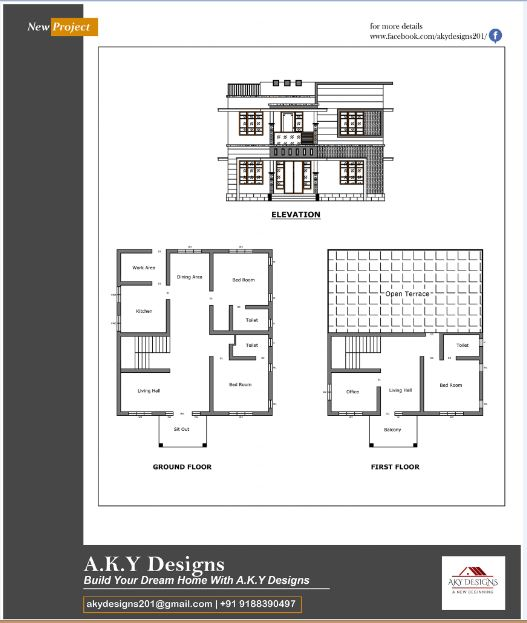 1784 Sq Ft 4BHK Contemporary Style Two-Storey Home and Free Plan