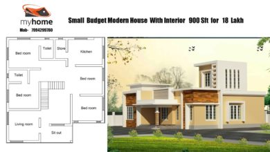 Photo of 900 Sq Ft 3BHK Contemporary Style Single Storey Home and Free Plan