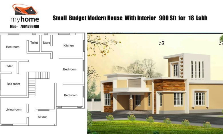 900 Sq Ft 3BHK Contemporary Style Single Storey Home and Free Plan