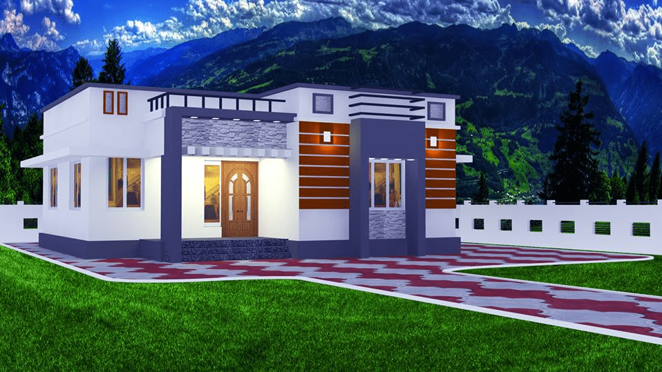1000 Sq Ft 2BHK Contemporary Style Single-Storey Home and Free Plan, 15 Lacks