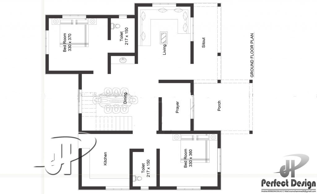 1086 Sq Ft 2BHK Traditional Style Single Floor House and Free Plan