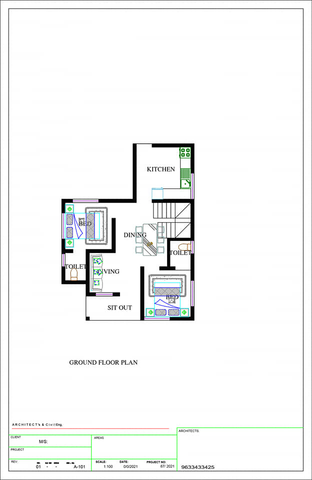 665 Sq Ft 2BHK Modern Simple Style Home and Free Plan, 10 Lacks