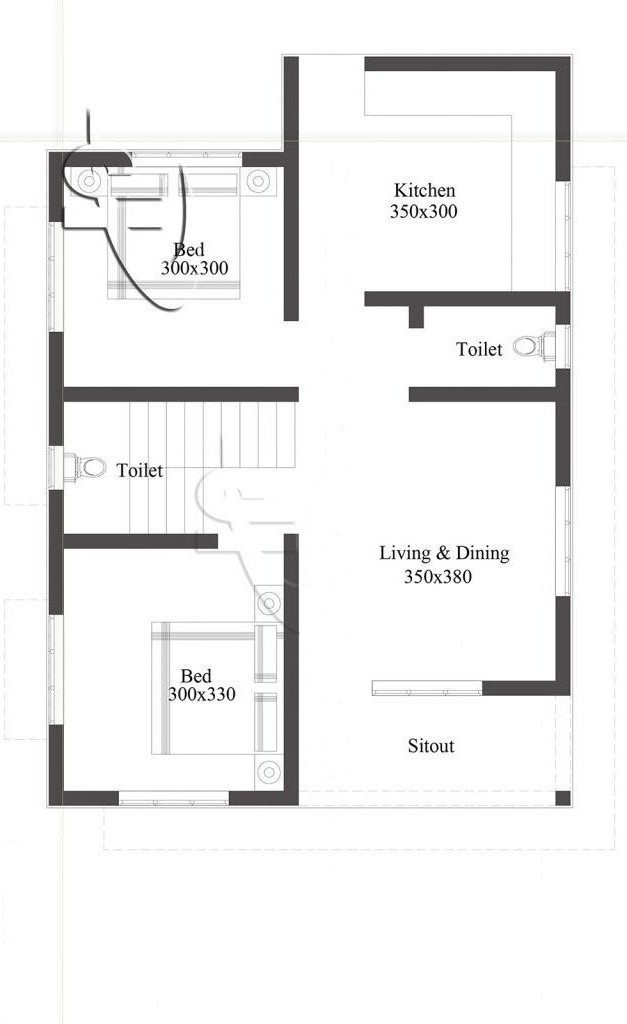 700 Sq Ft 2BHK Single Floor Beautiful House and Free Plan, 10 Lacks