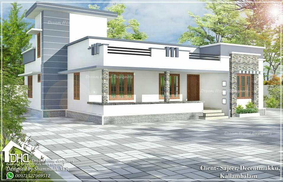 1388 Sq Ft 3BHK Modern Single Floor House and Free Plan