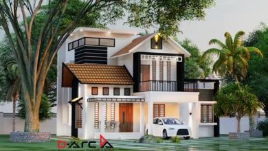 Photo of 1400 Sq Ft 3BHK Contemporary Style Two-Storey Home and Free Plan