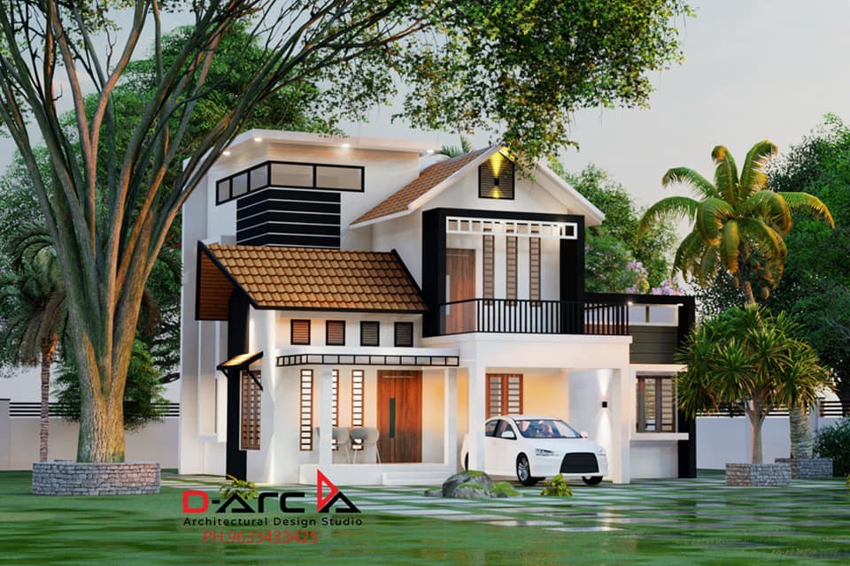 1400 Sq Ft 3BHK Contemporary Style Two-Storey Home and Free Plan