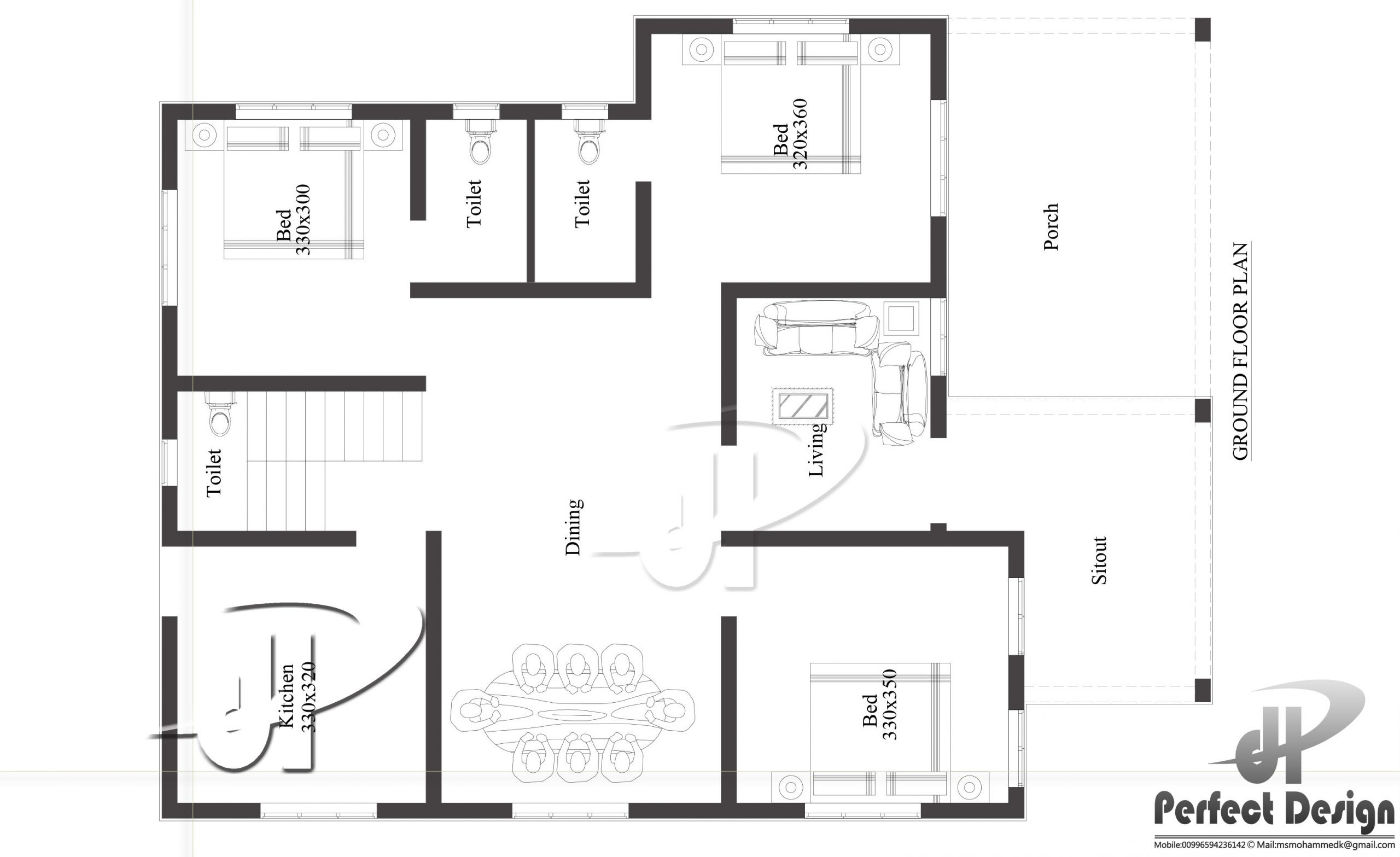 1129 Sq Ft 3BHK Contemporary Style Home and Free Plan