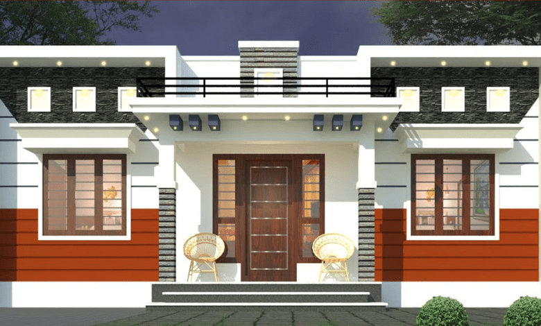 843 Sq Ft 3BHK Contemporary Style Home and Free Plan, 14 Lacks