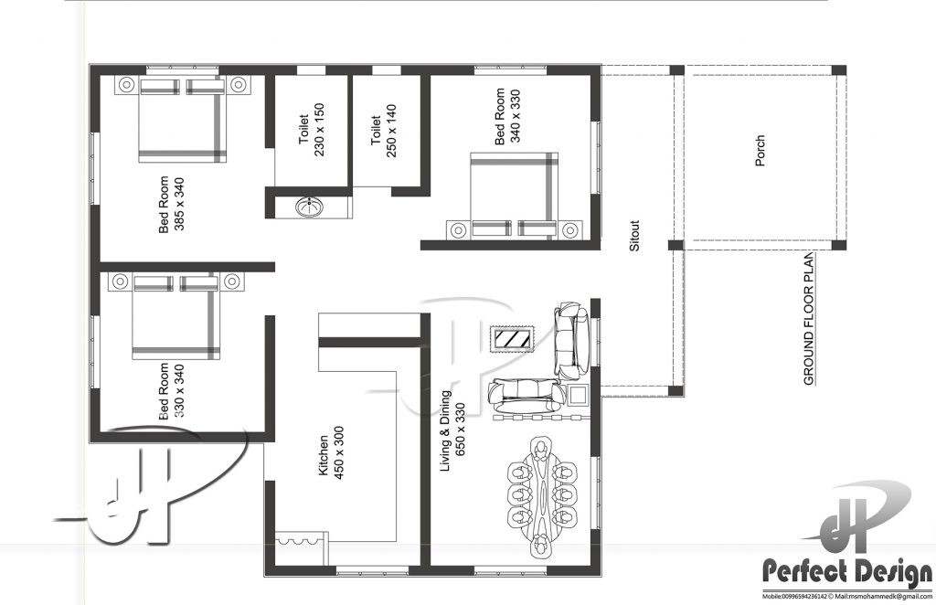 1101 Sq Ft 3BHK Colonial Style Single Floor Home and Free Plan, 16 Lacks