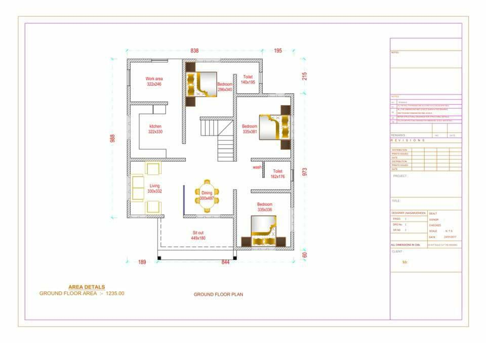 1235 Sq Ft 3BHK Contemporary Style Home and Free Plan, 18 Lacks