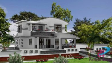 Photo of 1500 Sq Ft 3BHK Contemporary Style Two Storey Home and Free Plan