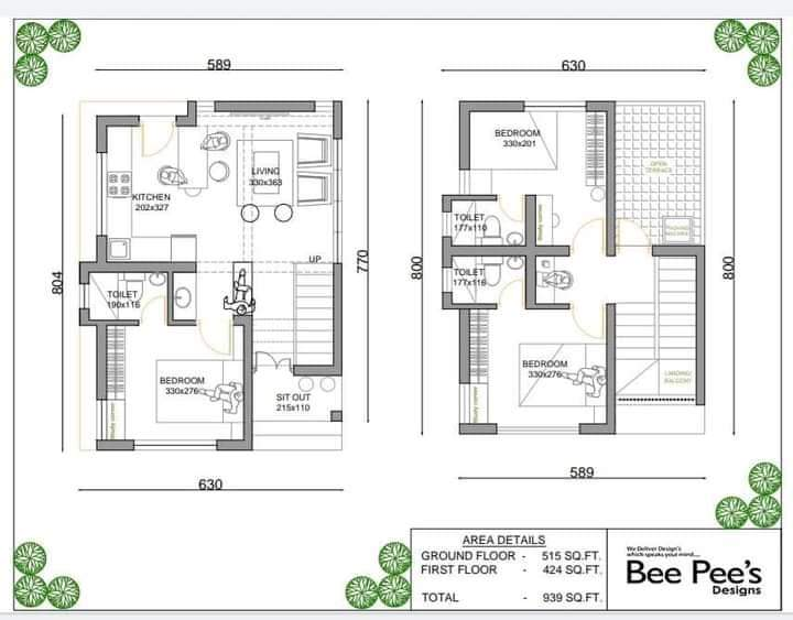 939 Sq Ft 3BHK Contemporary Style Two Storey Home and Free Plan